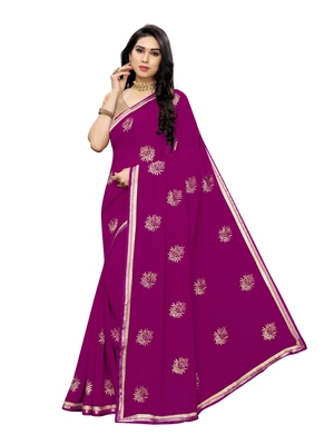 Dark orchid embroidered georgette saree with blouse