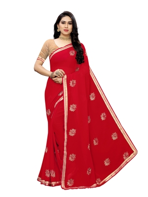 Ruby embroidered georgette saree with blouse