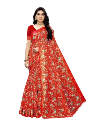 Red printed bhagalpuri silk saree with blouse