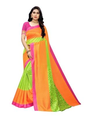 Lime Printed Bhagalpuri Silk Saree With Blouse