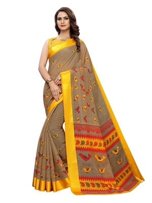 Yellow printed bhagalpuri silk saree with blouse