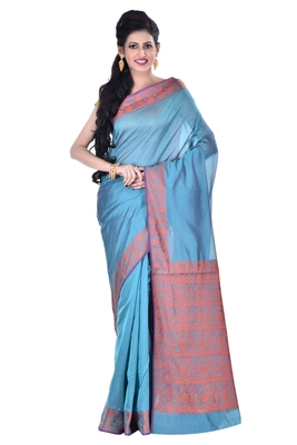 Green Woman's Cotton Silk blend  Banarasi Saree