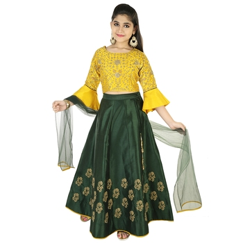 Green And Mustard Silk With Exquisite Dori Embroidery