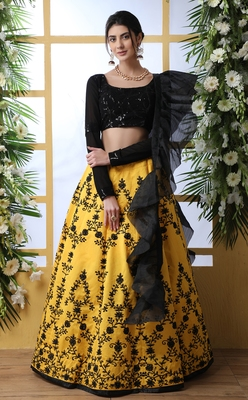 Desiring Yellow Thread With Sequence Embroidered Art Silk Semi Stitched Party Wear Lehenga Choli With Dupatta