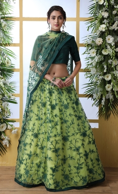 Florence green Thread Embroidered Work With Stone Pasting net semi stitched lehenga choli with dupatta