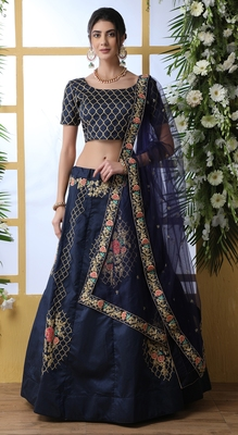 Elegent Navy-blue Coding Embroidered art silk semi stitched Wedding & Party Wear lehenga choli with dupatta