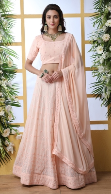 Peach Thread With Sequence Embroidered And Pearl Stone Pasting Georgette Semi Stitched Lehenga Choli With Dupatta
