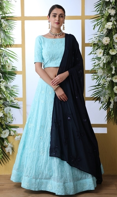 Sky-blue Thread With Sequence Embroidered Georgette semi stitched Wedding & Party Wear lehenga choli with dupatta
