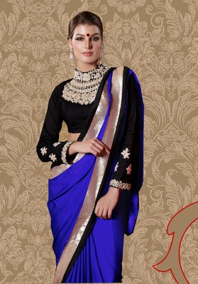 Blue hand woven faux georgette saree with blouse