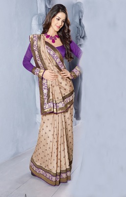 Beige embroidered dupion silk saree with blouse