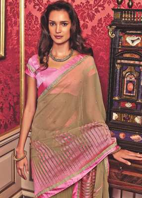 Beige hand woven georgette saree with blouse