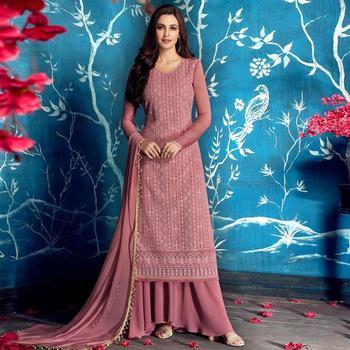 Pink  Faux Georgette Palazzo Designer Salwar Suit