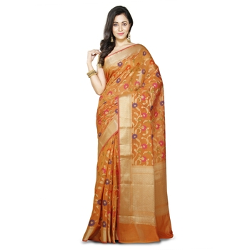 Mustard Woman's Mercerize Cotton Silk Banarasi Saree