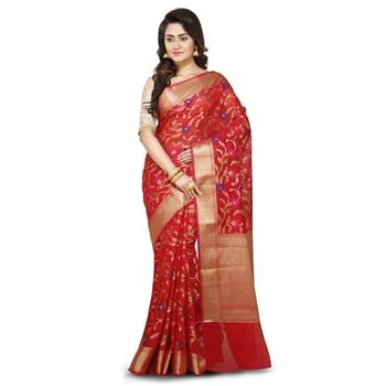 Red Woman's Mercerize Cotton Silk Banarasi Saree