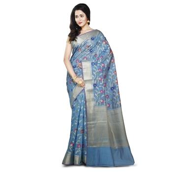 Sky blue Woman's Mercerize Cotton Silk Banarasi Saree