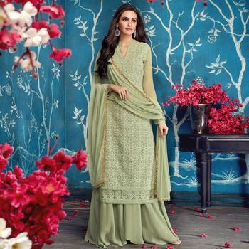 Light Green  Faux Georgette Palazzo Designer Salwar Suit