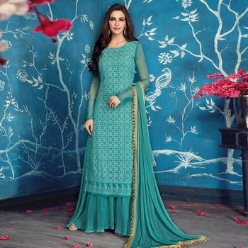 Sky Blue Faux Georgette Palazzo Designer Salwar Suit