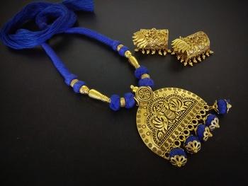 Blue Tassle Golden Pendant Set With Golden Jhumka