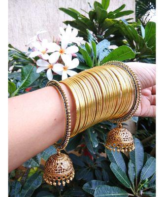 Golden Jhumka Bangle Set