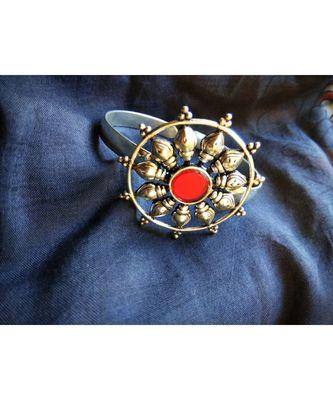 adjustable red stone Silver bracelet