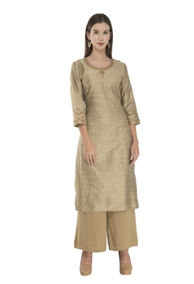 Lagi Womens Embroidered Straight Polly Silk Kurta RK2163A