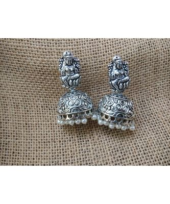 Germans Silver Jhumka With Devi Stud