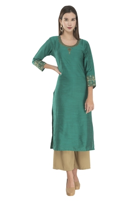 Lagi Womens Embroidered Straight Polly Silk RK2163B