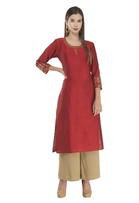 Lagi Womens Embroidered Straight Polly Silk RK2163C