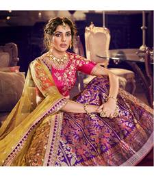 Purple Colour Jacquard Silk Lehenga With Pink Handloom Silk Choli And Lirill Green Colour Net Dupatta
