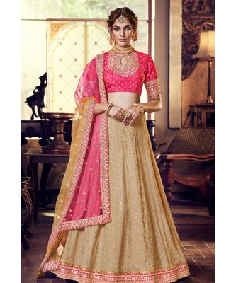 Tussar Color Georgette Lehenga With Pink Colour Handloom Silk Choli And Pink Shaded Colour Net Dupatta