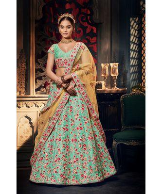 Sky Blue Colour Handloom  Silk Lehenga Choli With Mustard Colour Net Dupatta