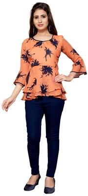 Orange printed georgette chiffon-tops