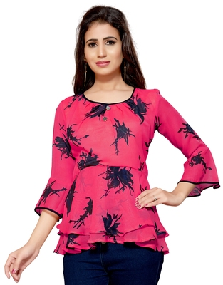 Pink printed georgette chiffon-tops