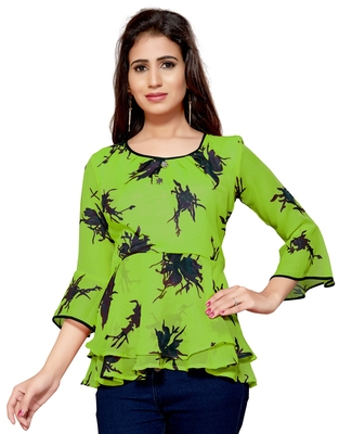 Green printed georgette chiffon-tops