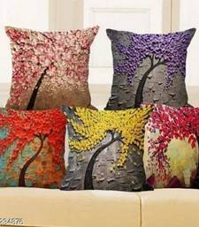multicolor Jute Polyester Blend Printed Cushion Cover 16x16 Inch Set of Five Pieces