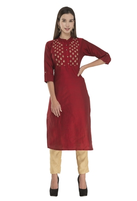 Womens Embroidered Straight Polly Silk