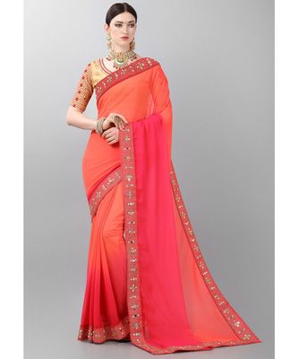 Orange woven faux georgette saree with blouse