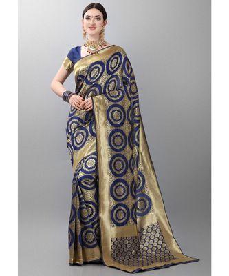 Blue woven art silk saree with blouse