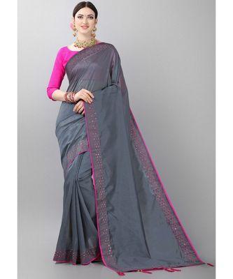 Grey woven art silk saree with blouse