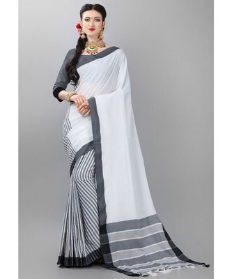 White printed poly cotton saree with blouse