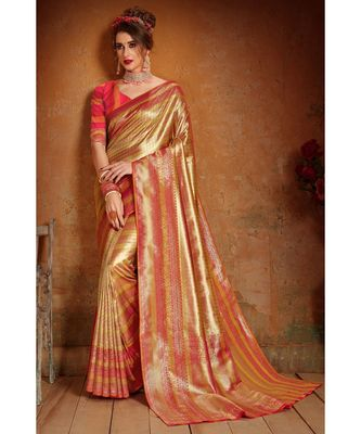 Gold woven blended silk kanchipuram saree with blouse
