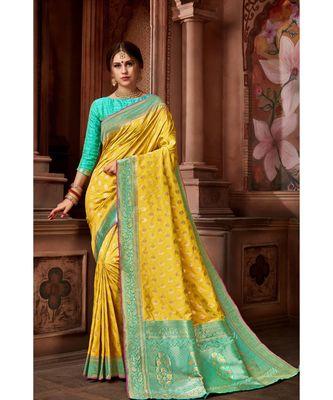 Yellow woven blended silk banarasi saree with blouse