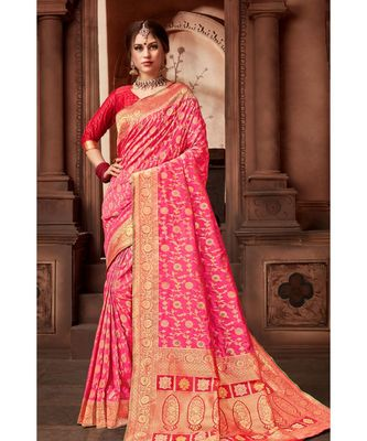Pink woven blended silk banarasi saree with blouse