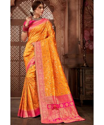 orange woven blended silk banarasi saree with blouse