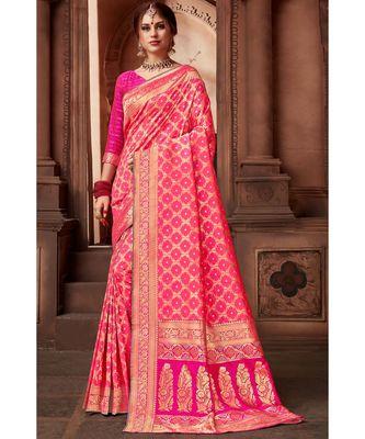 Pink woven blended silk banarasi saree with blouse