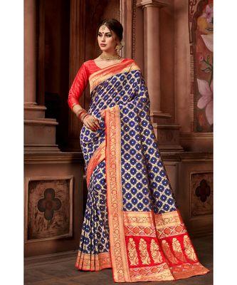 Navy Blue woven blended silk banarasi saree with blouse