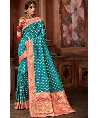 Blue woven blended silk banarasi saree with blouse