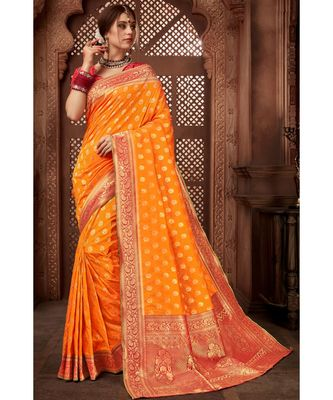 orange woven blended silk banarasi saree with blouse