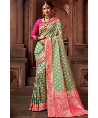 Green woven blended silk banarasi saree with blouse