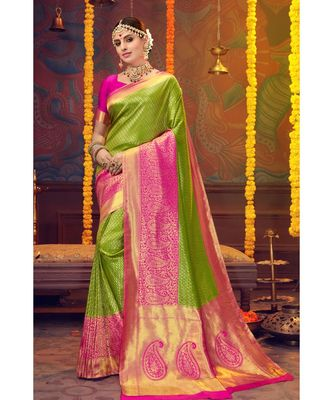 Green woven blended silk kanjivaram saree with blouse